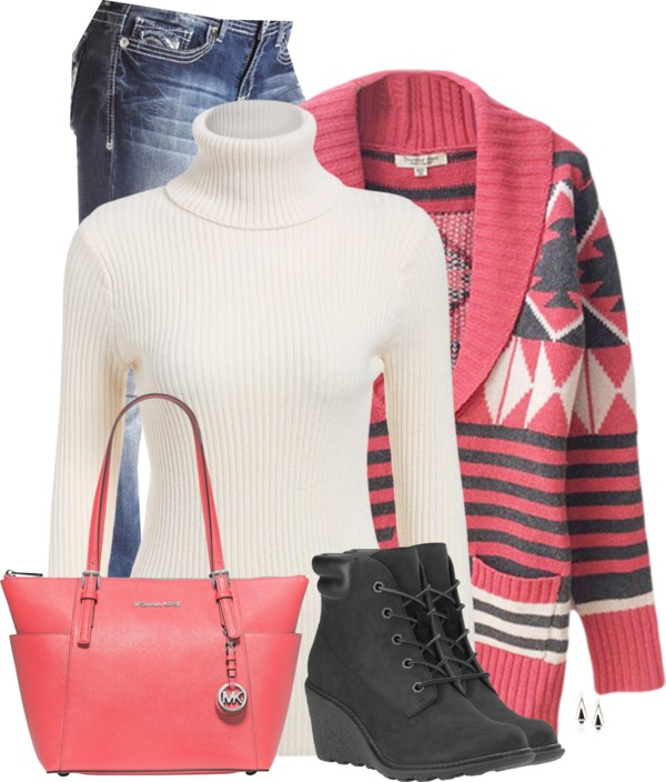 Red Striped Cable Knit Patterned Cardigan Casual Fall Winter Outfit outfitspedia