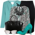 Sea Green Wool Crepe Jacket With Printed Top Work Outfit