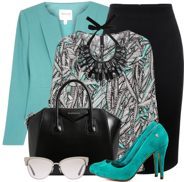 Sea Green Wool Crepe Jacket With Printed Top Work Outfit outfitspedia