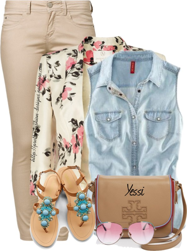 Sleeveless Button Down Shirt with Floral Blazer Cute Spring Outfit outfitspedia
