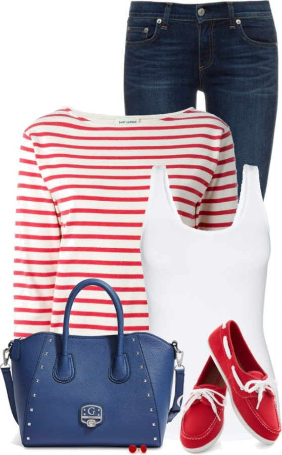 Striped Sweatshirt Casual Spring Outfit outfitspedia