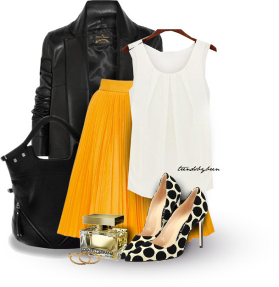 yellow pleated skirt with blouse and leather jacket outfit outfitspedia
