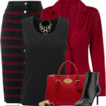 Black Red Stripe Knit Skirt Work Fall Outfit