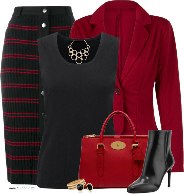 Black Red Stripe Knit Skirt Work Fall Outfit outfitspedia