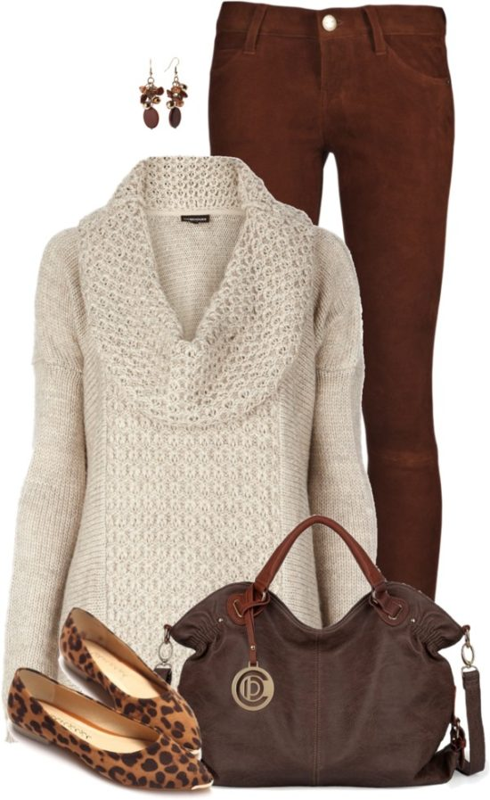 Brown Jeans with Cozy Cowl Neck Jumper and Leopard Flats Fall Outfit outfitspedia