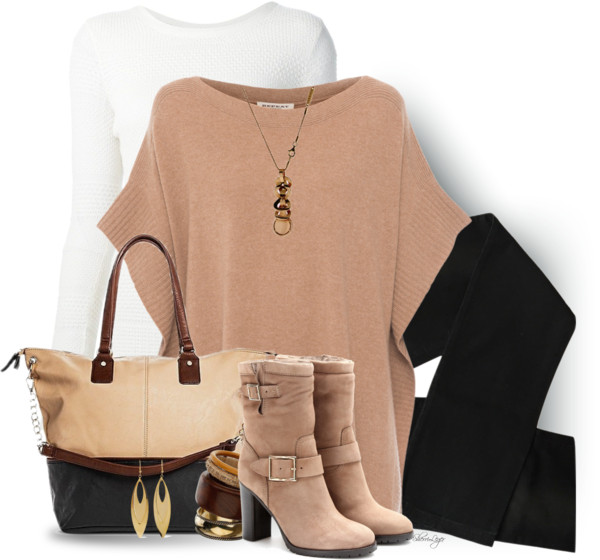 Camel Cashmere Poncho Sweater Cute Fall Outfit outfitspedia