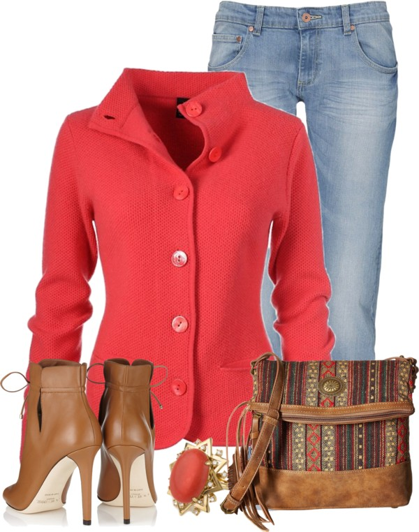 Coral Blazer Everyday Fall Outfit Idea outfitspedia