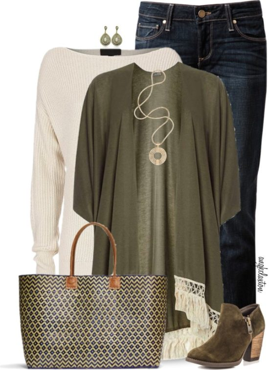 Khaki Green Cover Up Cardigan Casual Fall Outfit outfitspedia