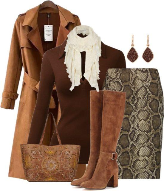 Michael Kors Snake Print Skirt Stylish Fall Outfit outfitspedia