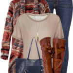 Casual Dyed Open Cardigan Fall Winter Outfit