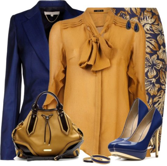 Classy Gold Blue Floral Skirt Work Outfit outfitspedia