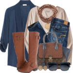 Cotton-Blend Jersey Cardigan Casual Fall Polyvore Outfit