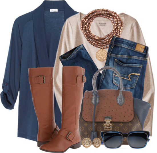 Cotton-Blend Jersey Cardigan Casual Fall Polyvore Outfit outfitspedia