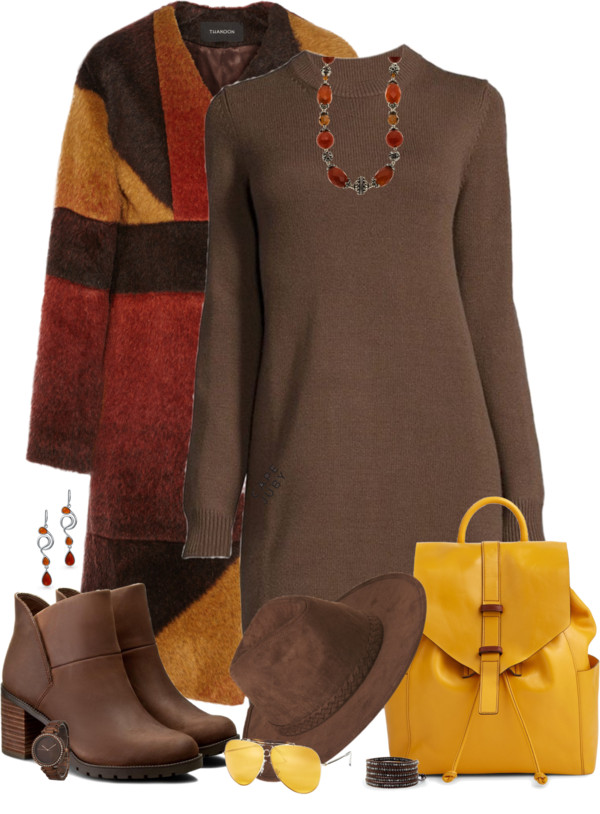 Cozy and Stylish Brown Sweater Dress Fall Outfit outfitspedia
