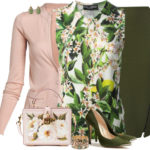 Pink and Floral Green Blouse Work Outfit