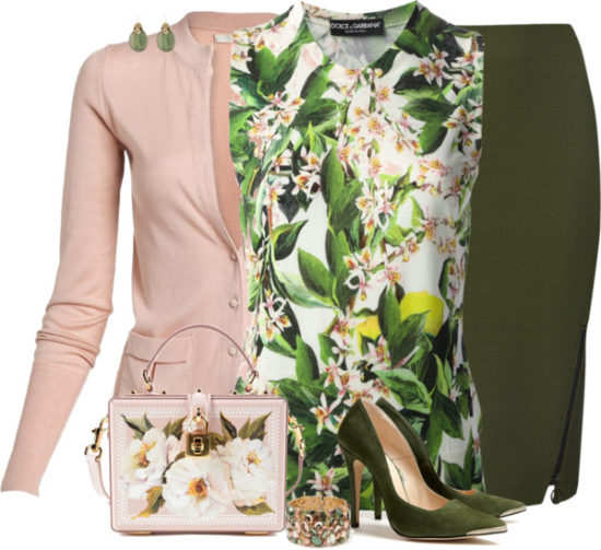 Pink and Floral Green Blouse Work Outfit outfitspedia