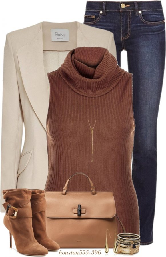 Stylish Nude Girlfriend Blazer with Turtleneck Sweater Fall Outfit outfitspedia