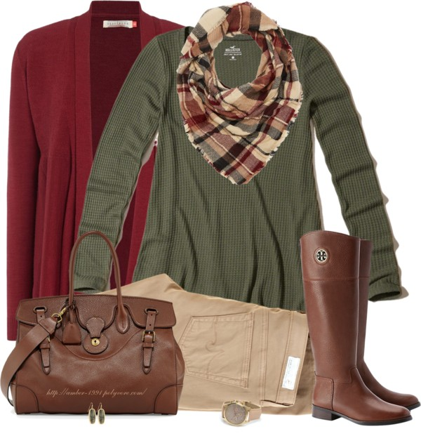 Brown, Green and Maroon Fall Color Outfit outfitspedia