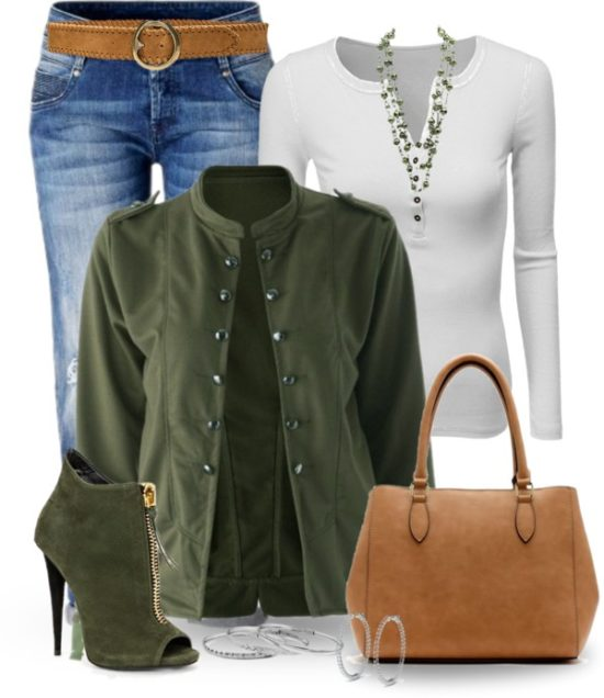 Casual Olive Green Bomber Jacket Fall Outfit outfitspedia