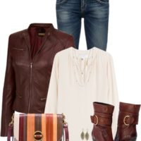 Cognac Leather Jacket Casual Fall Outfit outfitspedia