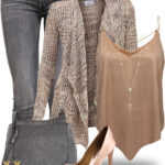 Copper Cami Top With Cardigan Cute Spring Outfit