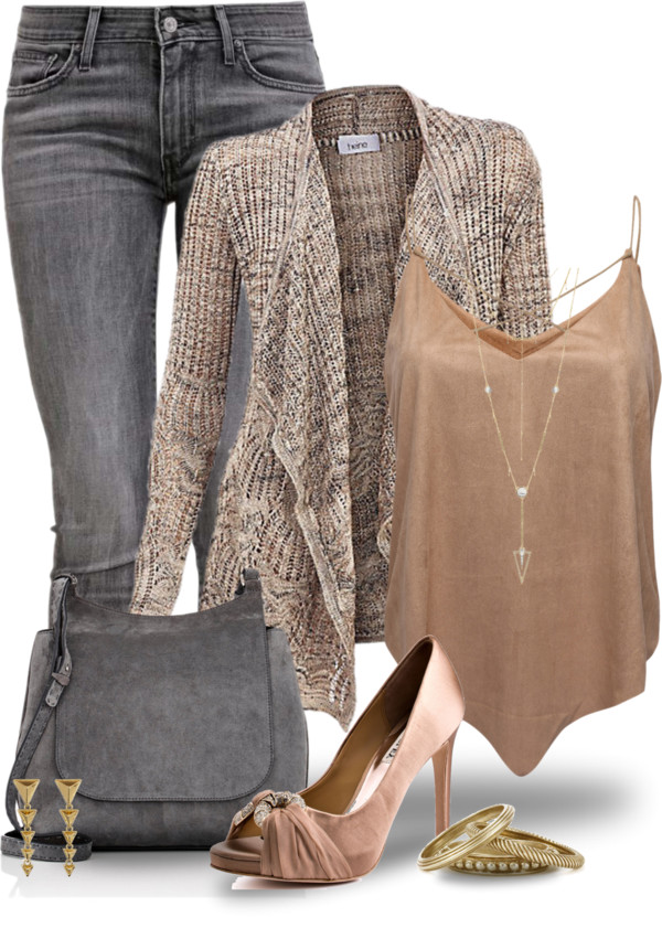 Copper Cami Top With Cardigan Cute Spring outfit outfitspedia