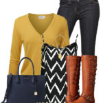 Mustard Yellow Crew Neck Cardigan Cute Fall Outfit