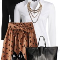 Cat Print Skirt Stylish Spring Outfit outfitspedia