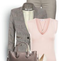 Grey and pink formal office attire outfit outfitspedia