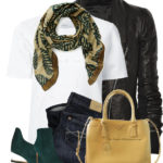 Pointy Toe Suede Booties with Leaf Scarf Chic Fall Outfit