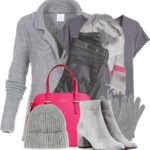 Shades of Grey With Pink Pop Winter Outfit