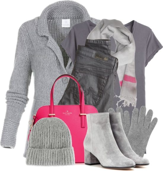Shades of Grey With Pink Pop Winter Outfit outfitspedia