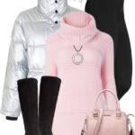 Silver Puffer Pink Jumper Casual Winter Outfit