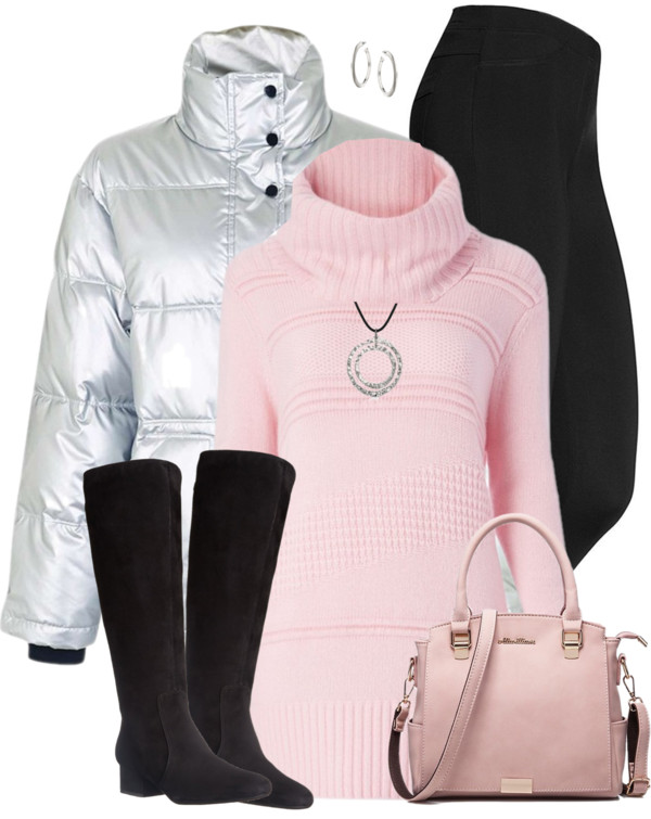 Silver Puffer Pink Jumper Casual Winter Outfit outfitspedia