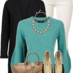 Turquoise Cashmere Sweater With Flats Casual Spring Outfit
