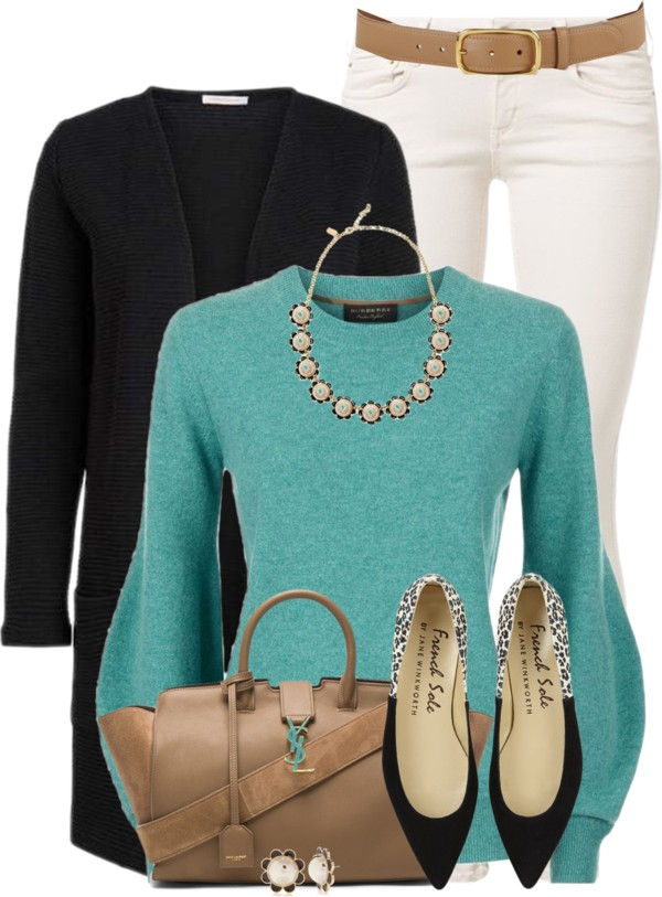 Turquoise Cashmere Sweater With Flats Casual Spring Outfit outfitspedia