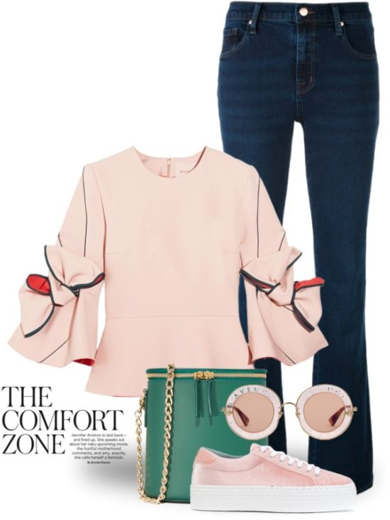 Bow-Embellished Crepe Top Street style outfit outfitspedia
