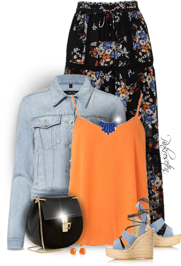 FLORAL MAXI SKIRT WITH DENIM Spring outfit outfitspedia