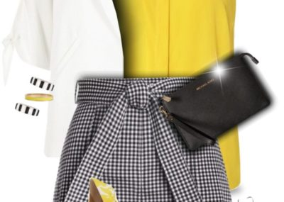 Mustard with Gingham Shorts Late Summer Outfit outfitspedia