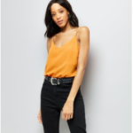 Orange V Neck Cami Top outfitspedia