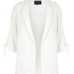 River Island White tie cuff blazer outfitspedia
