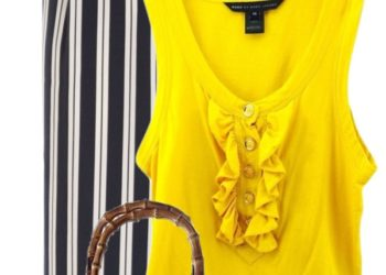 stripe with yellow pop summer outfit outfitspedia