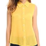 yellow collar sleeveless shirt - outfitspedia