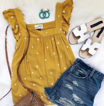 mustard ruffle top with woven bag outfit 2