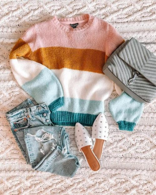 stripe sweater fall outfit 2