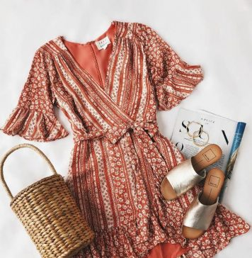 Coral Print Wrap Dress Summer Outfit