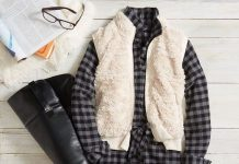 Fur Vest with Plaid Shirt Dress Fall Outfit