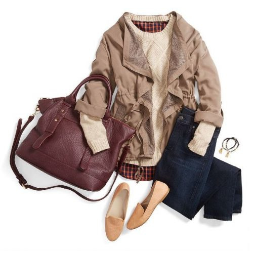 Layered casual fall outfit flat shoes fall outfit tan jacket fall outfit