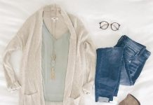 Long Hem Cardigan with Camisole Outfit