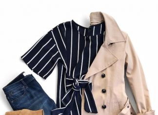 Stripe Blouse with Trench Coat Outfit